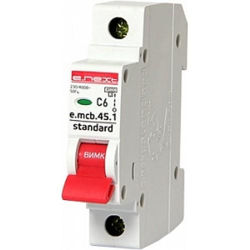 Модульный автоматический выключатель e.mcb.stand.45.1.C6 S002006