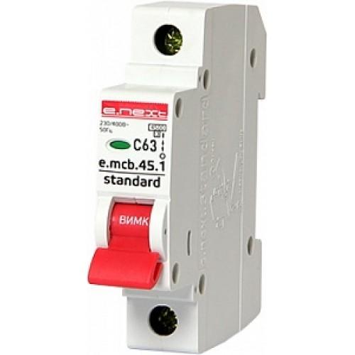 Модульный автоматический выключатель e.mcb.stand.45.1.C63 S002014