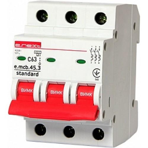 Модульный автоматический выключатель e.mcb.stand.45.3.C63 S002037