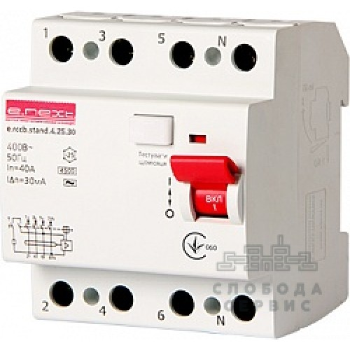 Выключатель дифференциального тока e.rccb.stand.4.25.30 4р s034003