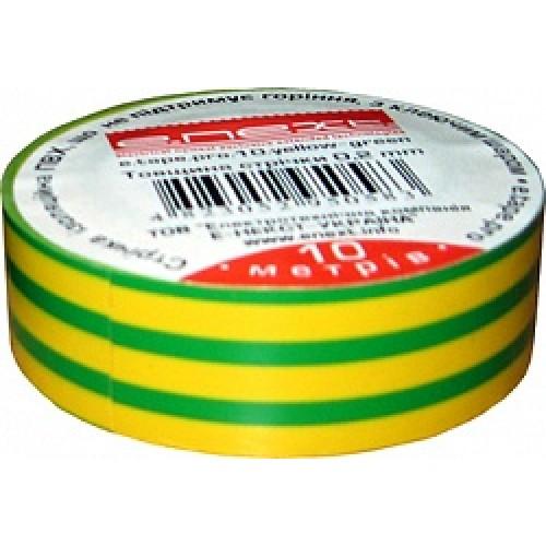 Изолента e.next желто-зеленая 10м. s022007