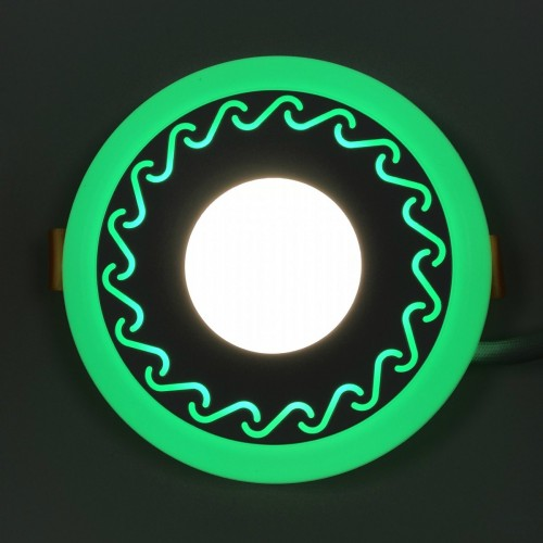 "LED панель Lemanso ""Завитки"" 3+3W с зеленой подсветкой LM534 круг"