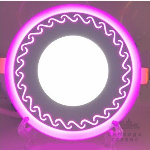 "LED панель Lemanso ""Завитки"" 3+3W с розовой подсветкой LM534 круг"
