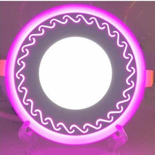 "LED панель Lemanso ""Завитки"" 6+3W с розовой подсветкой LM539 круг"