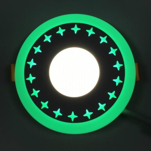 "LED панель Lemanso ""Звезды"" 12+6W с зеленой подсветкой LM545 круг"