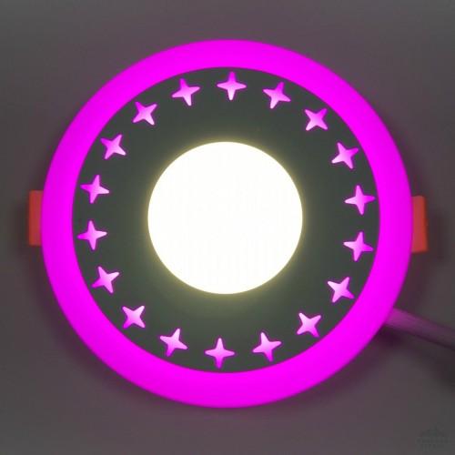 "LED панель Lemanso ""Звезды"" 12+6W с розовой подсветкой LM545 круг"