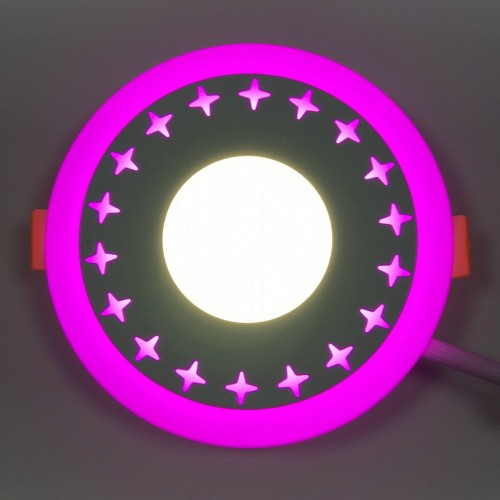 "LED панель Lemanso ""Звезды"" 3+3W с розовой подсветкой LM535 круг"