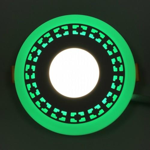 "LED панель Lemanso ""Кубики"" 3+3W с зеленой подсветкой LM554 круг"