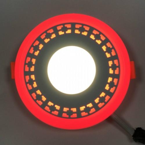 """LED панель Lemanso """"Кубики"""" 3+3W с красной подсветкой LM554 круг"""