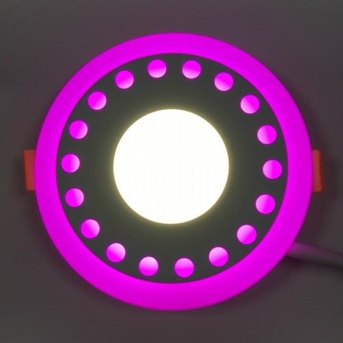 """LED панель Lemanso """"Точечки"""" 12+6W с розовой подсветкой LM547 круг"""