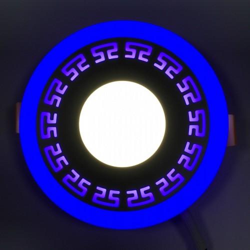 """LED панель """"Грек""""Lemanso 6+3W с синей подсветкой 540 Lm 4500K 85-265V / LM555 круг"""