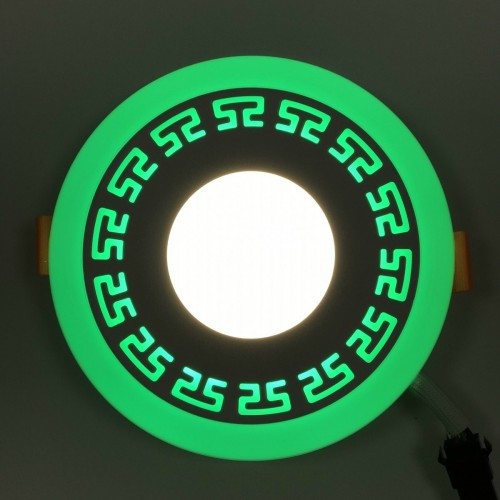 "LED панель ""Грек"" Lemanso 3+3W с зеленой подсветкой LM533 круг"