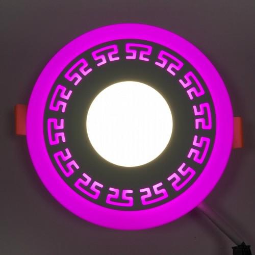 "LED панель ""Грек"" Lemanso 3+3W с розовой подсветкой LM533 круг"