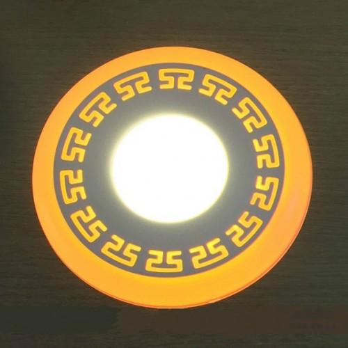 "LED панель ""Грек"" Lemanso 6+3W с желтой подсветкой 540 Lm 4500K 85-265V / LM555 круг"