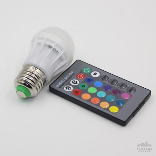 Лампа Lemanso св-ая E27 RGB 3W 210LM с пультом 85-265V (48*65mm) / LM736