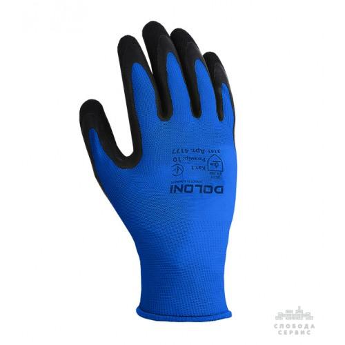 Перчатки DOLONI 4177 трикотажные синие с латексным покрытием неполный облил, размер 10