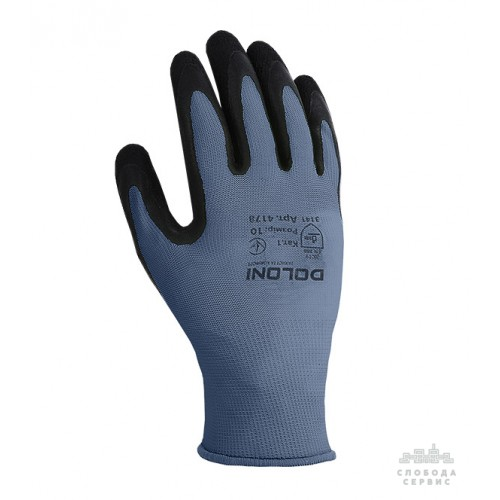 Перчатки DOLONI 4178 трикотажные серые с латексным покрытием неполный облил, размер 10