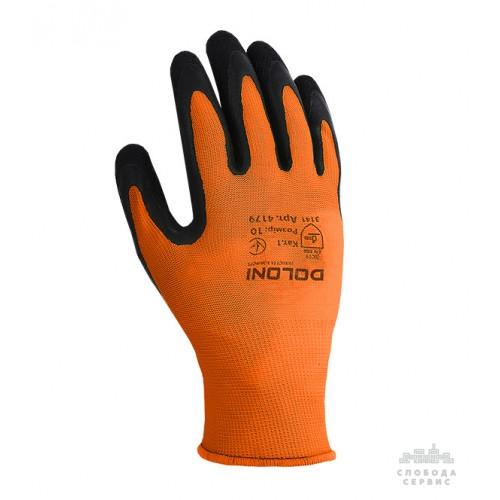 Перчатки DOLONI 4179 трикотажные оранжевые с латексным покрытием неполный облил, размер 10