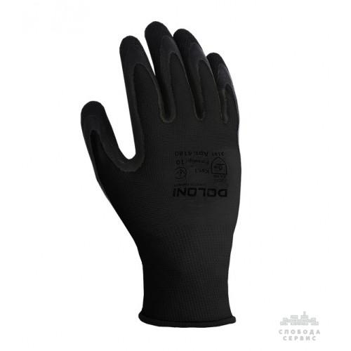 Перчатки DOLONI 4180 трикотажные черные с латексным покрытием неполный облил, размер 10