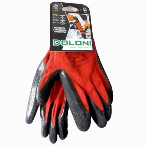 Перчатки DOLONI 4183 трикотажные красные с латексным покрытием, 3/4 облив, размер 10
