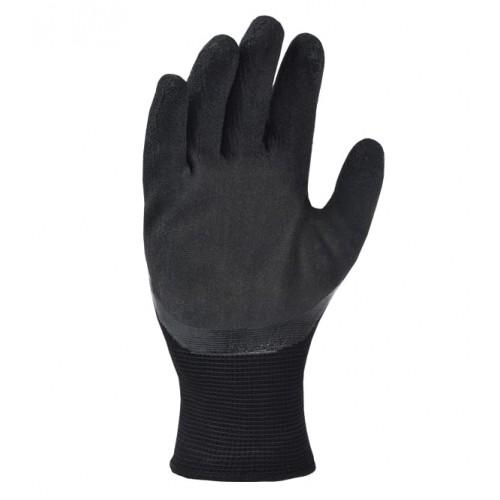 Перчатки DOLONI 4185 трикотажные черные с латексным покрытием, 3/4 облив, размер 10