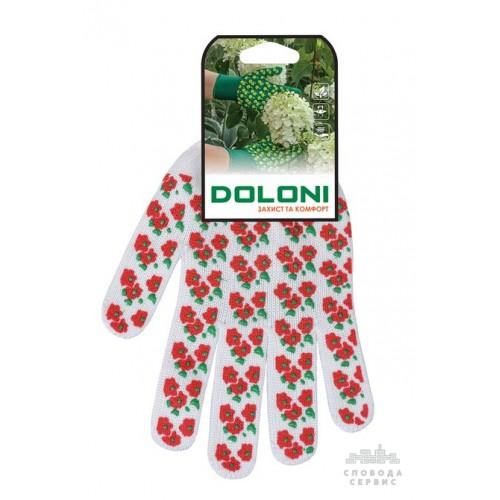 """Перчатки DOLNI 4298 трикотажные рабочие белые из пвх """"Весенние цветы"""", красные, 10 класс 10 размер"""