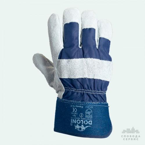 Перчатки DOLONI 4503 спилковые+ткань манжет крага