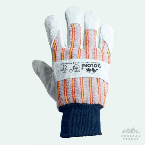 Перчатки DOLONI 4504 спилковые+ткань вязаный манжет