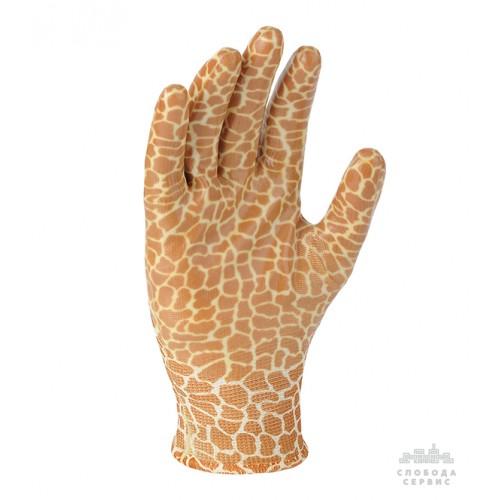 Перчатки DOLONI 4553 коричневые, нейлон, нитрил неполный гладкий облив