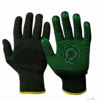 Перчатки рабочие с ПВХ черные Украина 7 класс