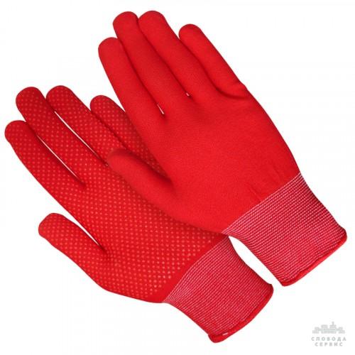 Перчатка нейлон тонкая красная