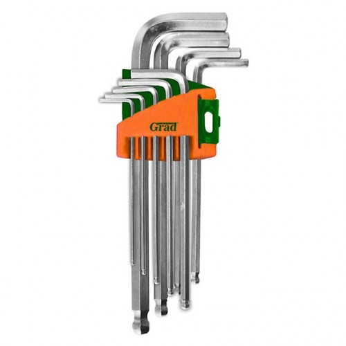 ключи шестигранные 9шт 1,5-10мм CrV (короткие шар) Grad 4022175