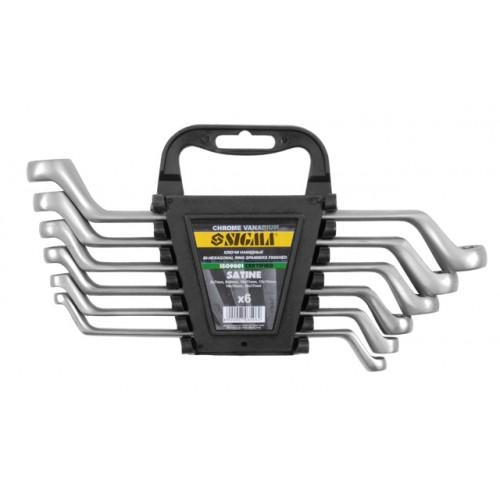 ключи накидные 6шт 6-17мм CrV satine 6010041