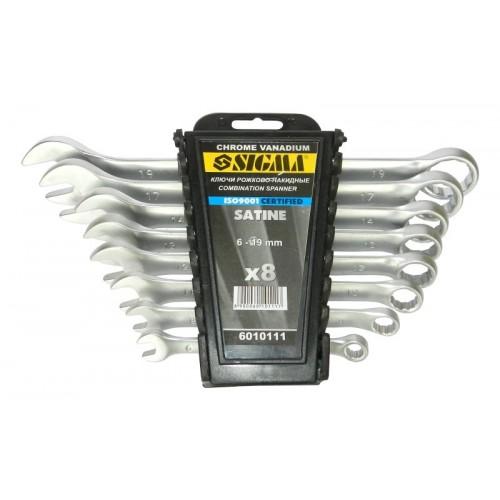 ключи рожково-накидные 8шт 6-19мм CrV satine 6010111