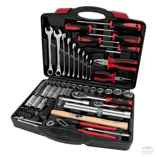 """набор инструментов, ключей, бит и насадок торцевых ¼"""" ½"""" 80шт CrV Taiwan 6001041"""