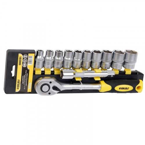 """ключ-трещотка ½"""" с набором насадок и удлиннителем 12шт CrV mid 6003701"""