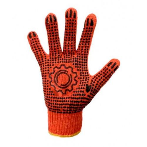 Рабочие трикотажные перчатки с ПВХ рисунком оранжевые Украина 10 класс